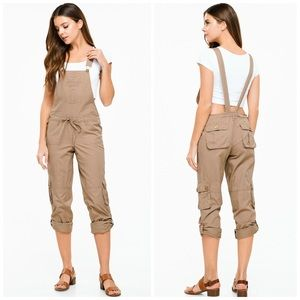 NEW! Drawstring Tie Front Cropped Cargo Overalls